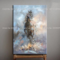 Free Shipping Colorful Sytle Cartoon Horse Picture Abstract Animal Wall Art for Home Decoration No Framed Oil Painting on Canvas