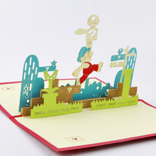Qubiclife 3D stereo card super Marie Mario three-dimensional paper cards postcards