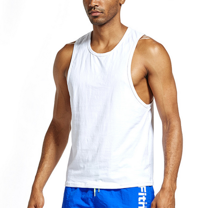 New Mens Sexy Cotton Casual   Tank     Top   Sleeveless   Tops   Bodybuilding Undershirts Low Cut Fashion Loose Vests Breathable Streetwear