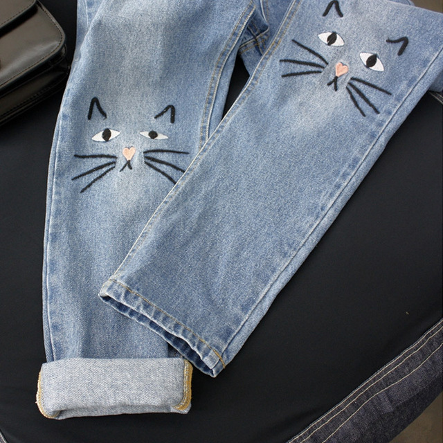 New Arrivals Spring Summer Women Jeans 2017 High Waist Cute Cat Embroidery Denim Jeans Pants Girl's Lovely Jeans Trousers Female