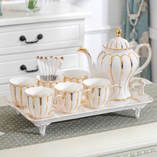European coffee cups set teapot tray luxury tea cup set Bone China porcelain sugar pot Teatime Afternoon Wedding Gift home decor