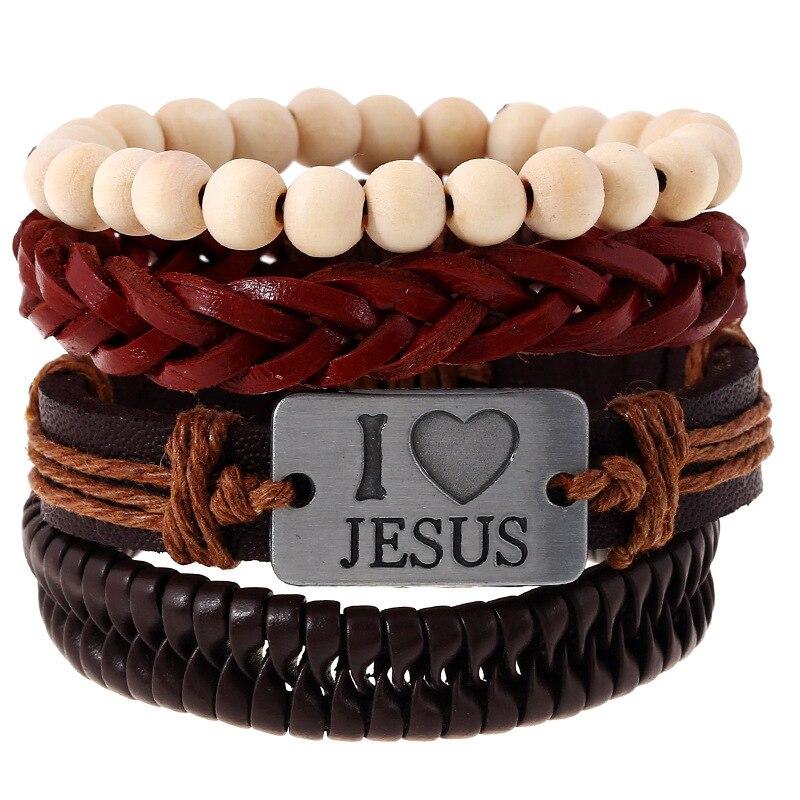 1Set 4pcs Leather Rope Beads Bracelets Cuff for Male Femme I Love Jesus Braclet Women Braslet Pulseras Cuero Mujer