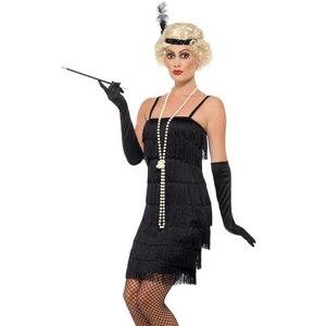Image 2 - Charleston Gatsby Fringe Flapper Vestito 8 A File Del Partito Della Nappa Vestito Delle Donne 1920s Roaring 20s Costume Sexy Stappy Nero vestito