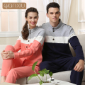 High Quality Winter lovers Pyjamas Man long sleeve Pajamas sets Polyester Thicken Button Homewear 1536