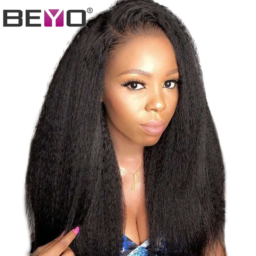 Brazilian Kinky Straight Wig 360 Lace Frontal Wig Pre Plucked With Baby Hair Lace Front Human