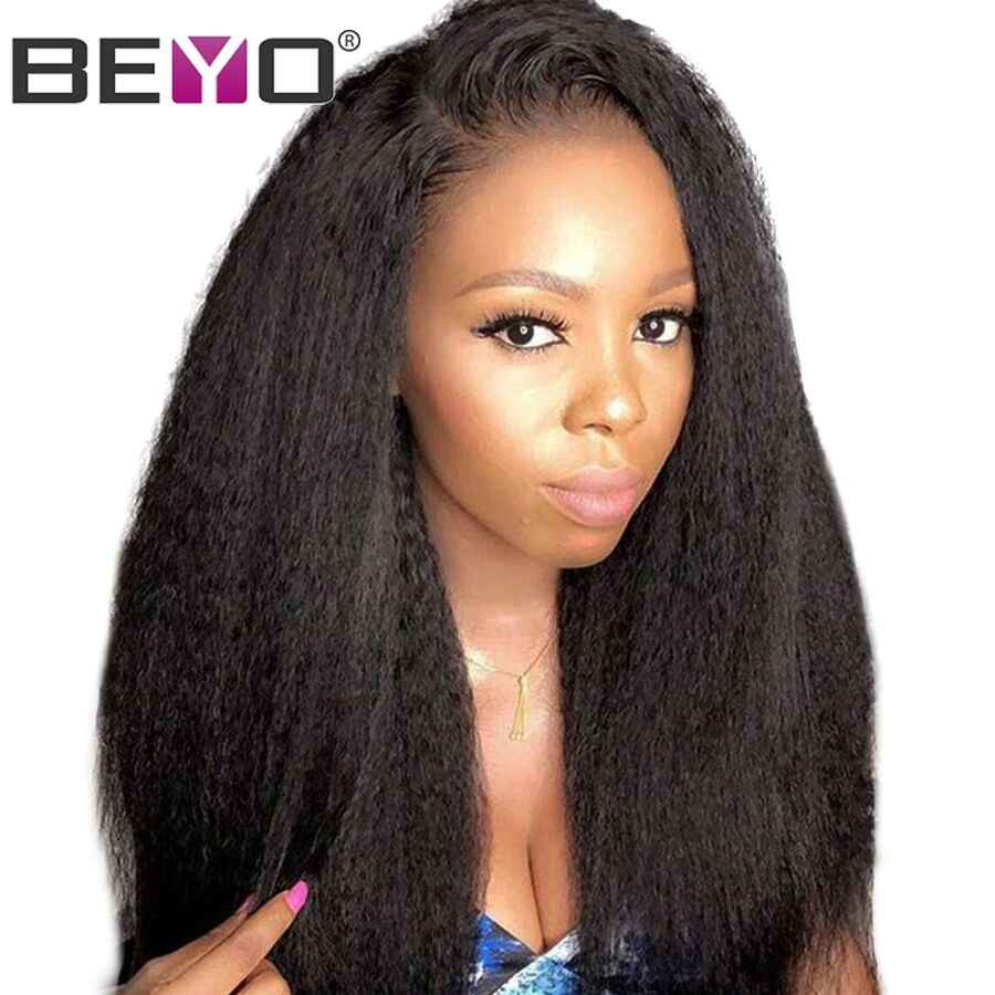 Brazilian Kinky Straight Wig 360 Lace Frontal Wig Pre Plucked With Baby Hair Lace Front Human Hair Wigs For Black Women RemyBeyo
