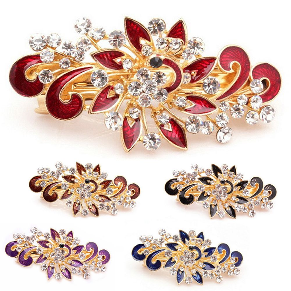 1PC Fashion Women Girl Cute Princess Colorful Shinning Crystal Rhinestones Peacock Party Wedding Hairpin Hair Clip Jewelry Hot 1pc fashion lovely women girl metal leaf hair clip crystal hairpin barrette headwear christmas party hair accessory 2016 hot