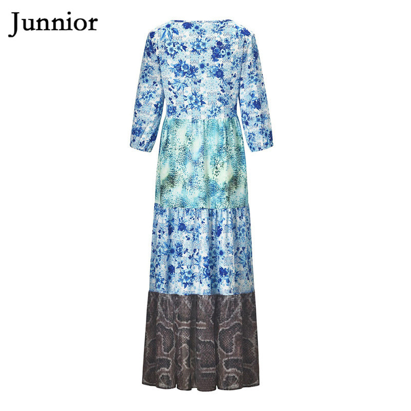 Junnior Patchwork Beach Dress Female Chiffon Animal Print Dresses for Women Maxi Bohemian Dress Half Sleeve Beachwear Robe Femme in Dresses from Women 39 s Clothing