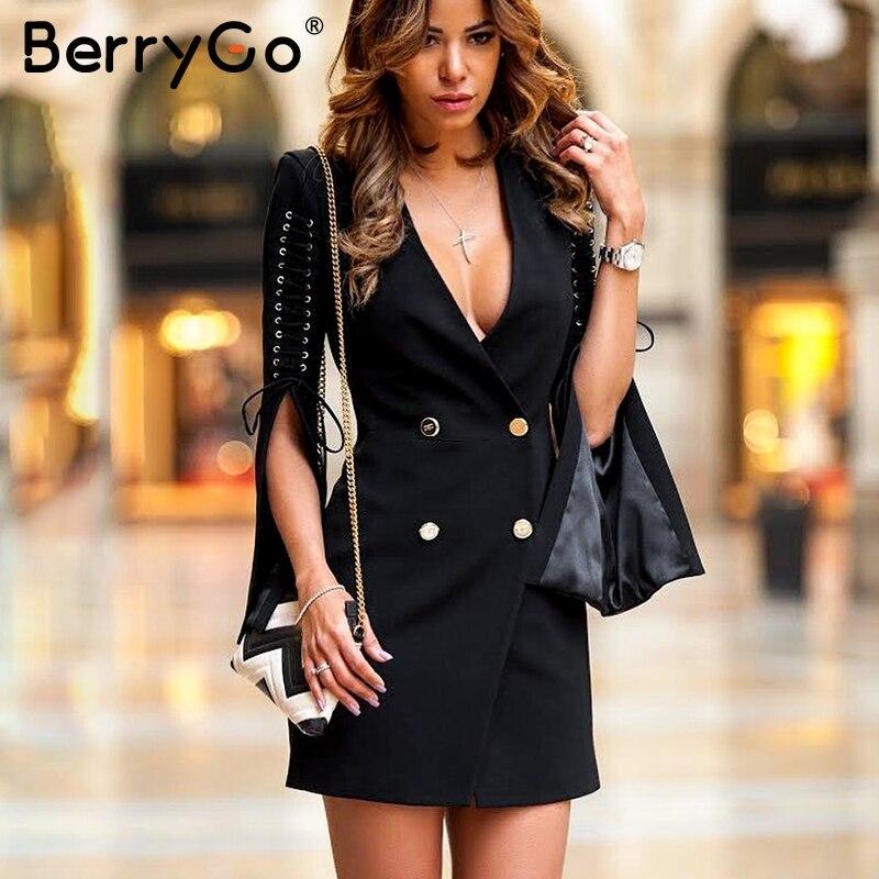 BerryGo Elegant Lace up white dress female 2018 Double breast work short dress Women winter black office ladies dresses autumn