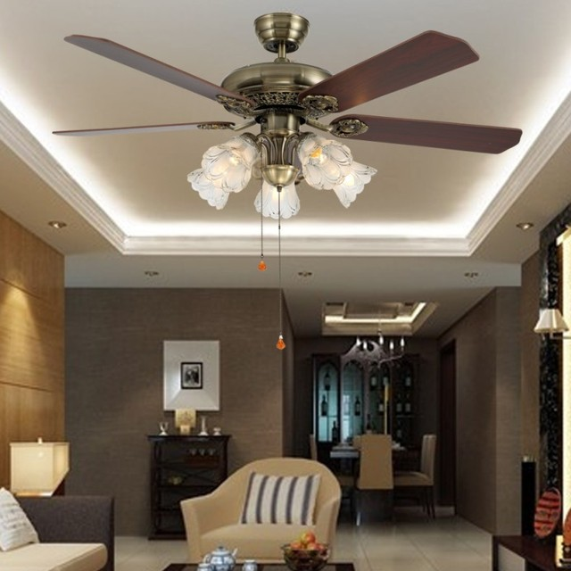52 Inch ceiling fan lamp European antique fan Chinese fan dining