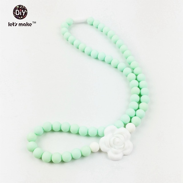 silicone Flower Chewable Beads Silicone necklace Safe Natural silicone jewelry Baby Gift corolful teething necklace