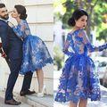Rendas com Contas Longo Preto Da Luva Vestido de Baile Barato Vestido Curto do Regresso A Casa Vestido de Formatura Vestidos de Festa Vestidos de Coquetel