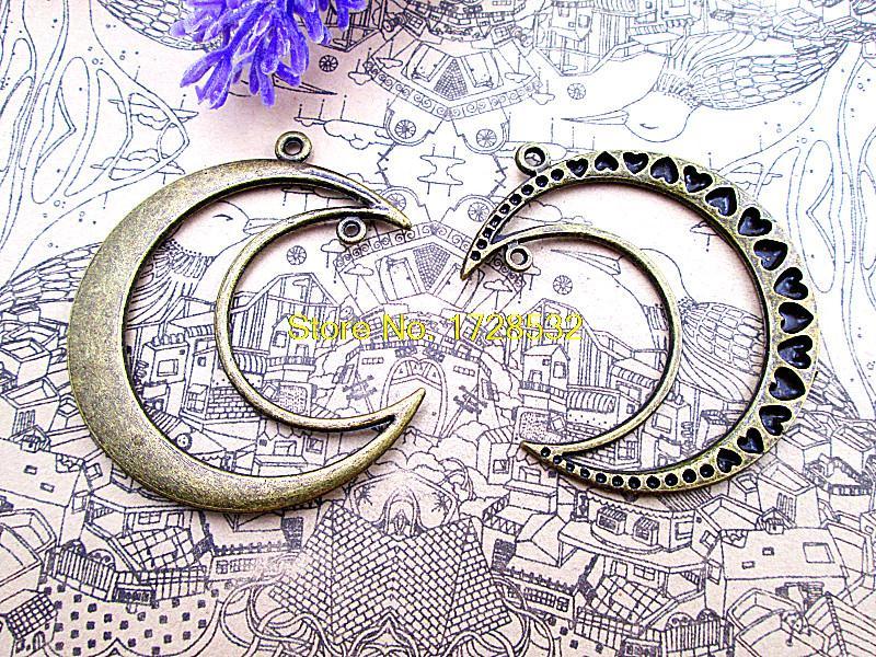 5pcs-Huge Moon charms, Antique bronze moon Pendantscharms 52x45mm
