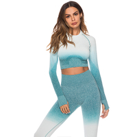 Seamless 2 Piece Set Women Fashion Suit Gym Workout Clothes Long Sleeve Fitness Crop Tops And Scrunch Butt Leggings Women Sets