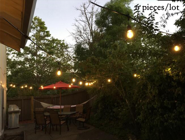 6 Set Lot 48ft Garden String Lights With Black Wire Waterproof Patio For Indoor And Outdoor Decoration 110v 220v