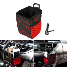 Car Air Vent Outlet Storage Bag Pen Card Tickets Phone Holder Container Red Grid Net Pocket Car Organizer Stowing Auto Accessory
