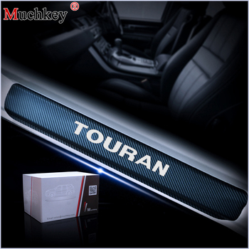 цена на Car Door Entry Guard For Volkswagen VW Touran Car Door Sill Welcome Pedal Sticker 4D Carbon fiber vinyl sticker Car Styling 4PCS