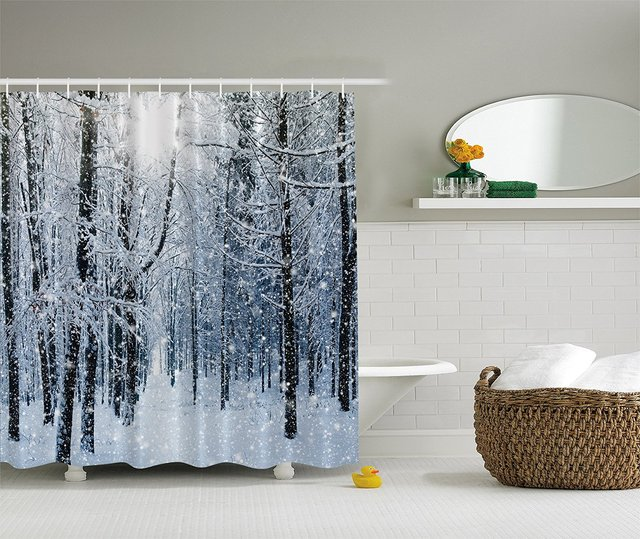 Forest Shower Curtain Winter Snow On Trees Blue And White