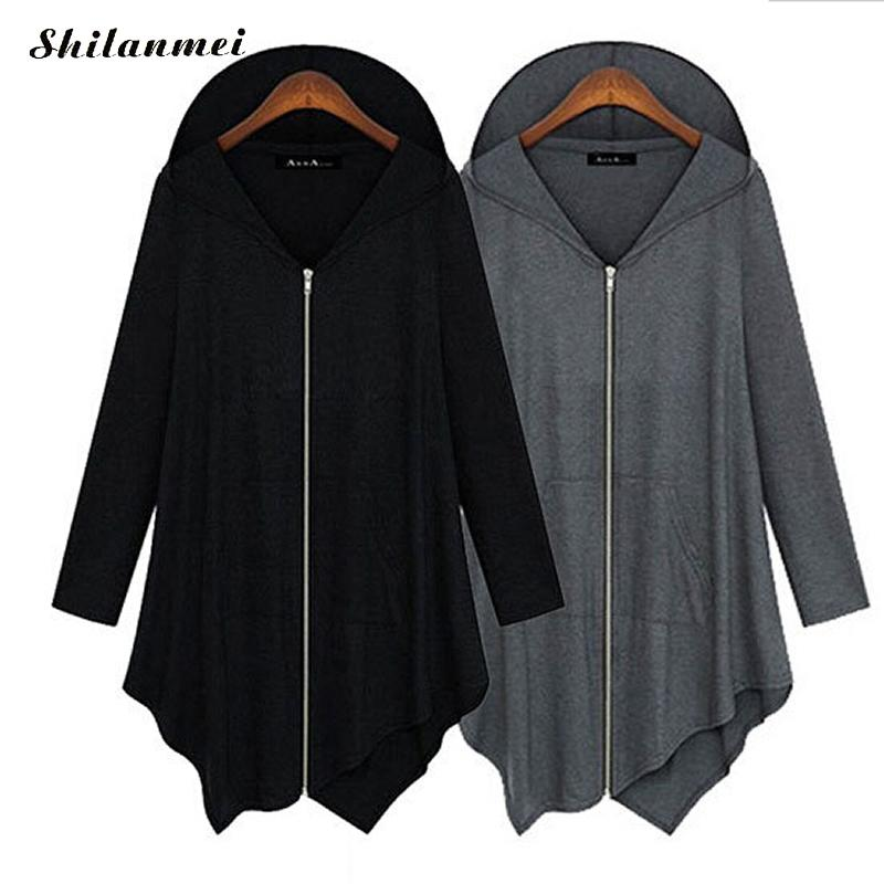 Irregular Womens Autumn Casual   Jackets   Ladies Plus Size Zipper Hooded Long Sleeve   Basic     Jacket   Coat Outwear Black Grey 3xl 4xl