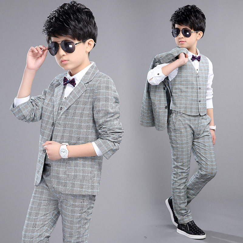 Kids Suits For Boys Wedding Formal Suits Boy Plaid Suit + Vest + Pants 3Pcs Fashion Spring Boy Clothing Sets 4 6 8 10 12 Years high quality school uniform new fashion baby boys kids blazers boy suit for weddings prom formal gray dress wedding boy suits