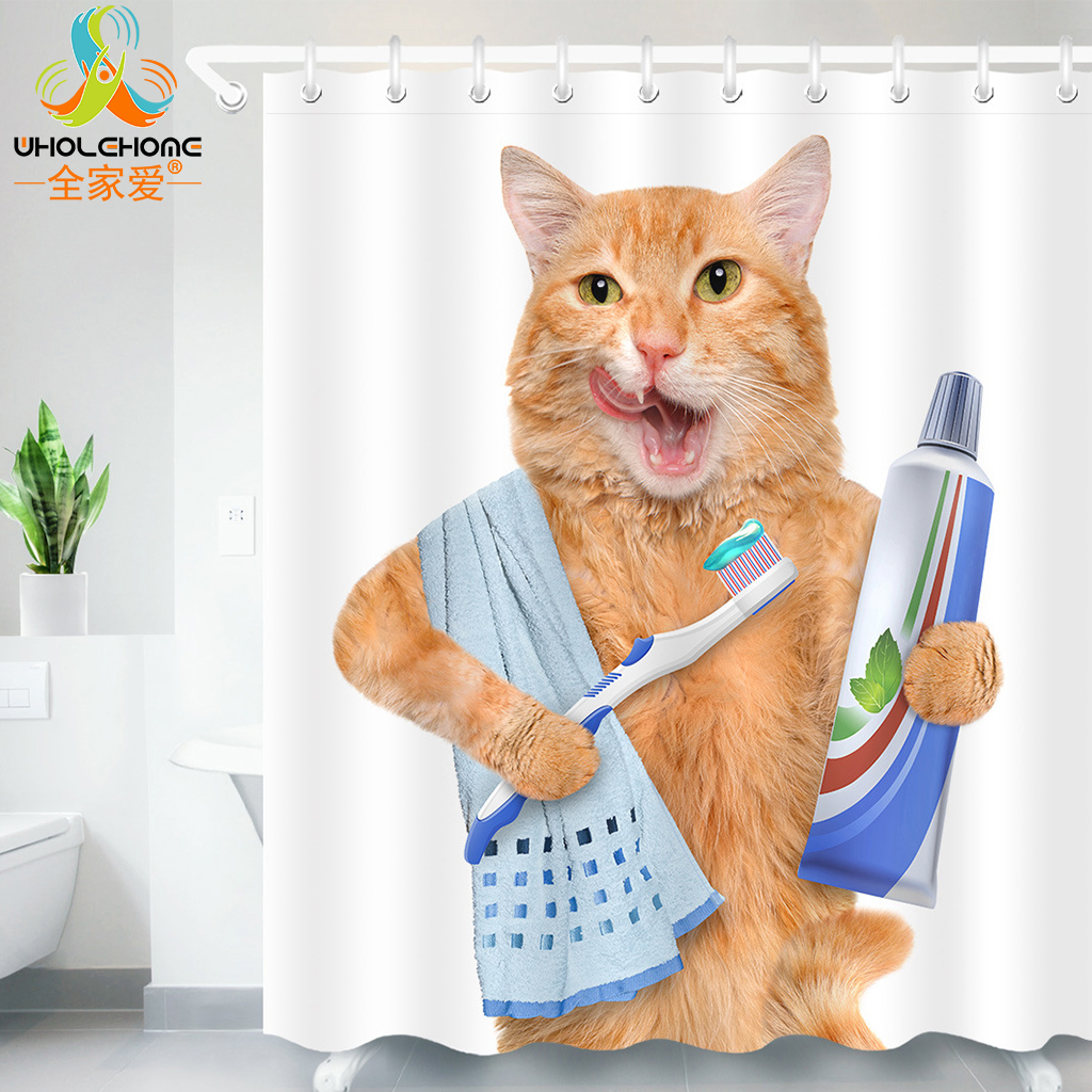 Cute Cat 3D Printed Shower Curtain Waterproof Polyester Fabric Bath Curtain for Bathroom Curtain Decoration 180cm with 12 Hooks
