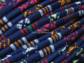 Mix blue Ethnic cord Stitched Embroider wrap cord Textile fabric cord