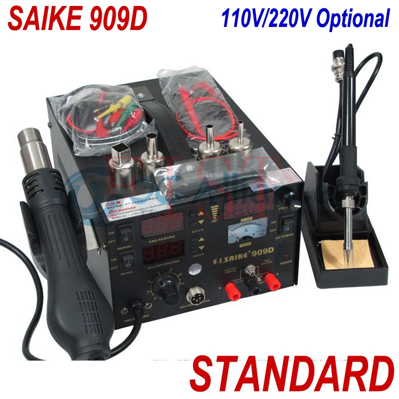 Free shipping saike 909D rework station hot air gun soldering station with power 3 in 1 220V / 110V electric soldering iron  dhl free saike 852d iron solder soldering hot air gun 2 in 1 rework station 220v 110v many gifts