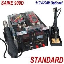 Бесплатная доставка saike 909D паяльная станция фена паяльная станция с властью 3 в 1 220 В/110 В электрический паяльник