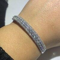 Классическая Лидер продаж сверкающих Роскошные ювелирные изделия 925 пробы серебро заполнить проложить 5A циркония CZ счастливый браслет для