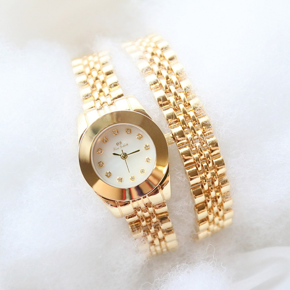 Free Shipping High Quality BS brand Full Crystal Women Wrist watch Lady Double Gold Chain Dress Watch Rhinestone Bangle bracelet spring big sale brand bs luxury 14k gold diamond women watch lady gold siliver dress watch rhinestone bangle bracelet