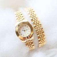Free Shipping High Quality BS Brand Full Crystal Women Wrist Watch Lady Double Gold Chain Dress