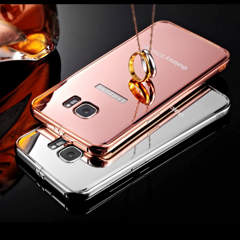 another chance 1ca34 2c2d9 US $16.84 |S7 edge Glossy Gold Plating Mirror Case Back Cover For Samsung  Galaxy S7 edge 5.5