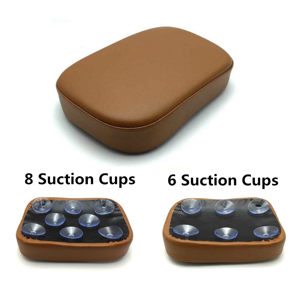 Brown Rear Passenger Seat Pad Pillion Cushion 6 / 8 Suction Cups Universal For Harley Motorcycle