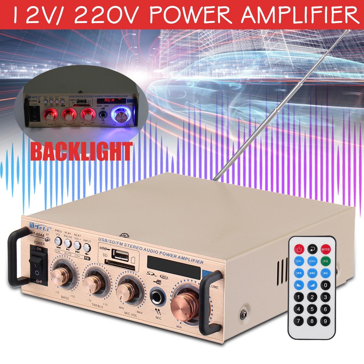 12V/ 220V HIFI Audio Stereo Power Amplifier Bass FM Radio 2CH Audio