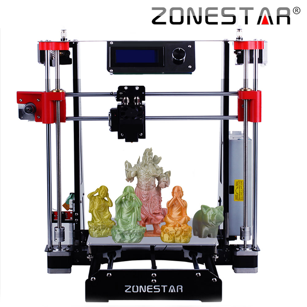 ZONESTAR Newest Dual Extruder Mixed Color Full Metal Reprap i3 3D Printer DIY Kit Easy Assemble SD Card Feeder Free Shipping double color m6 3d printer 2017 high quality dual extruder full metal printers 3d with free pla filaments 1set gift