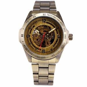 Image 3 - W starym stylu automatyczny mechaniczny zegarek szkielet Vintage mosiądz stalowy zegarek męski szkielet Steampunk zegar mężczyzna niebieska tarcza