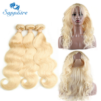 Sapphire Hair Body Wave 613 Bundles With Frontal 360 Lace Frontal Closure With Bundles 613# Blonde Bundles With Closure 360