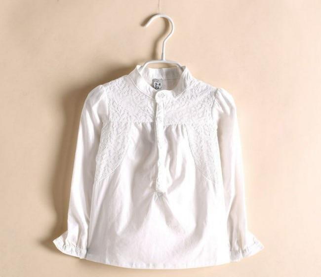 Girls White Long Sleeve Blouse
