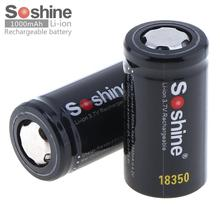 2pcs Soshine 3.7V 1000mAh High Capacity 18350 Li-ion Rechargeable Battery for LED Flashlights Headlamps