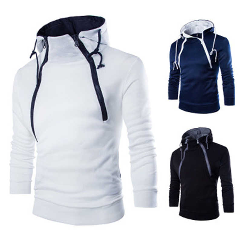 Homens camisola hoodies marca masculina manga longa patchwork moletom com capuz hoodie do zipper homens branco e preto big size vetements