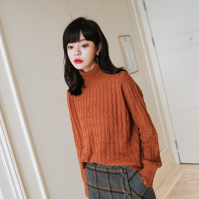 Women's Allover Cable Knit Pattren Broken Hole Ribbed Turtleneck Thick Sweater Cashmere Vintage Cable Knitted Pullover  #853