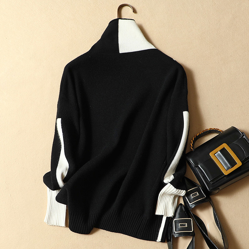 High Patchwork see Pullovers Autumn Sweater Female Pull Thick Knitted Warm See Femme Elasticity Winter Women Chart Turtleneck Chart Soft YvqxHFHCwR