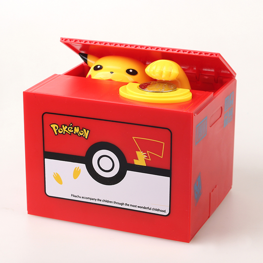 New Pokemon Pikachu Electronic Plastic Money Box Steal Coin Piggy Bank Money Safe Box For Kids Gift Desk Toy novelty gag toys automated cat steal coin bank piggy bank moneybox money saving box digital coin jar alcancia de gato kids gifts
