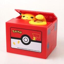 New Pokemon Pikachu Electronic Plastic Money Box Steal Coin Piggy Bank Money Safe Box For Kids Gift Desk Toy