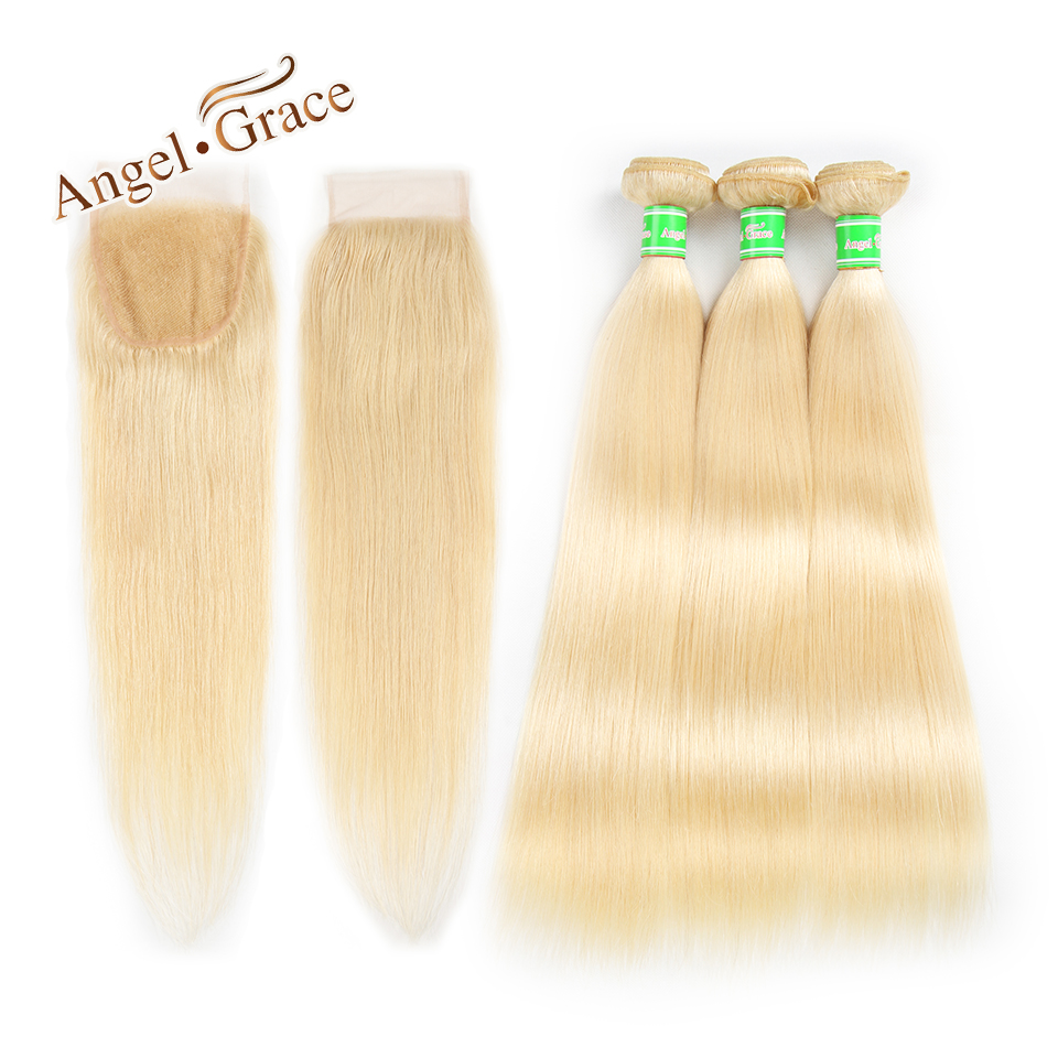 Malaysian 613 Bundles With Closure Angel Grace Human Hair Straight Hair Bundles With Closure Free Shipping Hair Extension