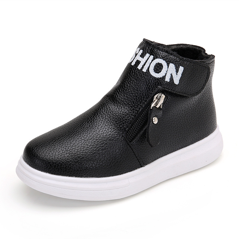 ФОТО 2017 new winter children boot fashion boy and girl shoes zipper kids sneakers leather shoes