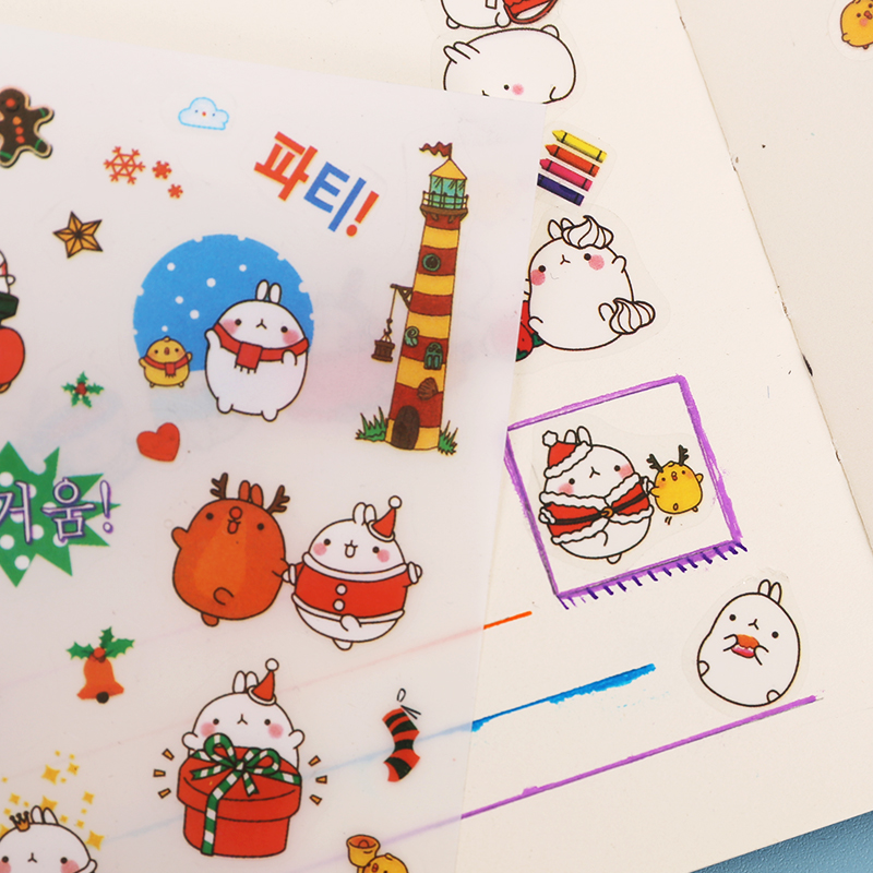 6 Pcs/Set Cute Molang Rabbit Cartoon Animals Sticker Pvc Cartoon Stickers Diary Sticker Scrapbook Decoration Stationery Stickers