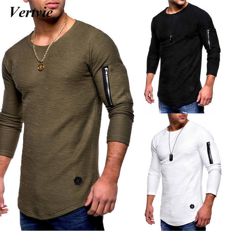 f2e211fd28a VERTVIE Men 2018 New Zipper T Shirt O Neck Long Sleeve T Shirts Male  Streetwear Hipster Hip Hop Fashion Design Clothes-in T-Shirts from Men s  Clothing ...