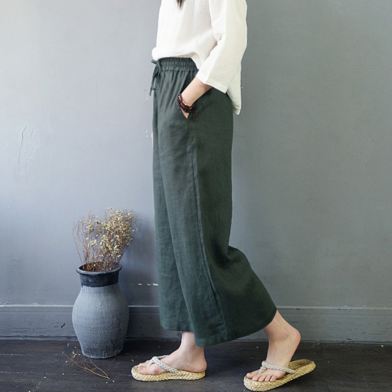 SCUWLINEN 2019 Spring Trousers for Women Casual Solid Elastic Waist Loose Linen Wide Leg   Pants   Long Lacing   Pants   &   Capris   S835