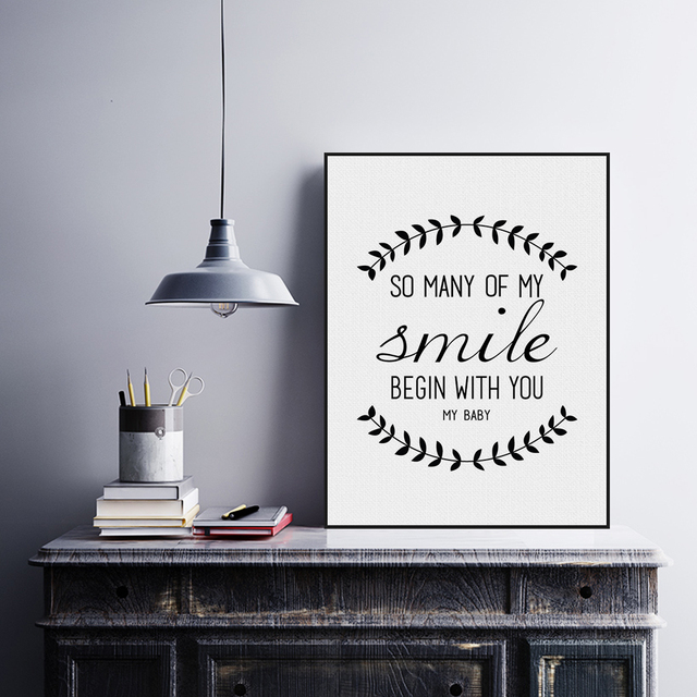 Modern Black White Nordic Minimalist Typography Smile Love Quotes Interesting Canvas Love Quotes